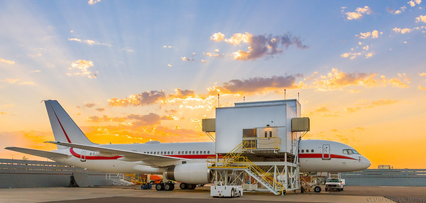 Honeywell Flight Test Boeing 757 parked on hangar ramp at sunrise. Honeywell Flight Operations, Phoenix, AZ.