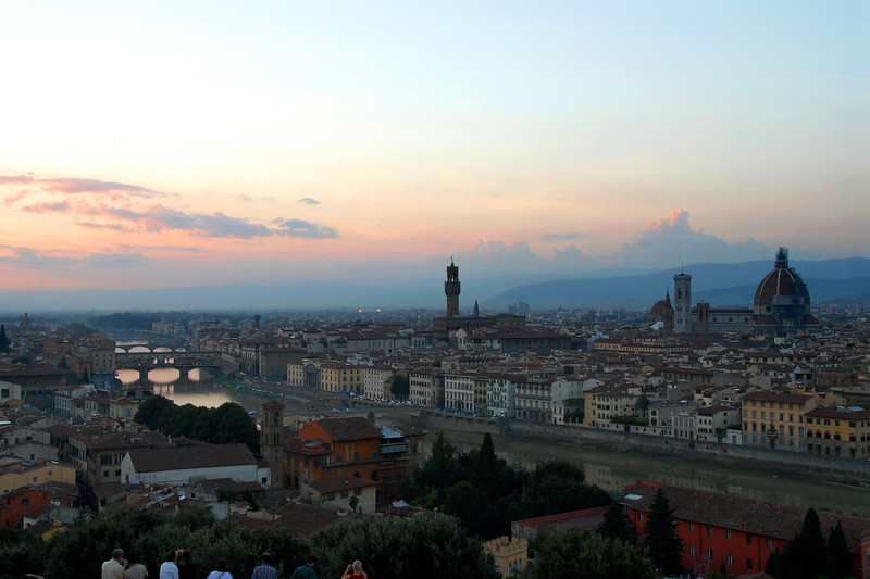 View of Florence, Italy as the Sun went down