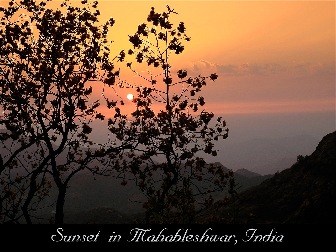 Sunset in Mahableshwar, Maharashtra, India.<br /> Mahableshwar, located in Satara district is a hill station located in the Western Ghats range with one of the few evergreen forests of the world. Located about 300 kms from Mumbai, Mahabaleshwar is a vast plateau measuring bound by valleys on all sides. It reaches a height of 1438 m (4710 ft) at its highest peak above sea level and the Sunset view is gorgeous.<br /> <br /> Today, Mahabaleshwar is a popular holiday resort and honeymoon spot, and an important pilgrimage site for Hindus. It is the site of Mahabaleshwar Temple. Many tourists visit nearby Panchgani. After the construction of a new highway, it is only a five-hour drive from Mumbai. Mahabaleshwar is also known for the honey and strawberries produced here.here one can visit strawberries farms to get real flavour of the fruit.It is said that the climate of Mahabaleshwar is ideal for strawberries and Malburries.[citation needed].