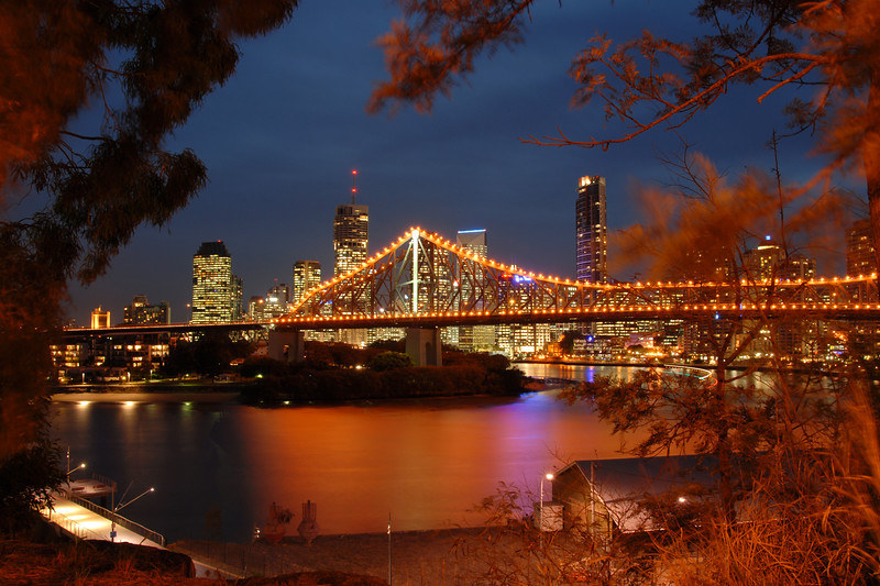 Evening shot of the Story Bridge, Brisbane, Australia.<br /> <br /> The Story Bridge is a cantilever bridge and the second crossing of the Brisbane River. It connects Fortitude Valley to Kangaroo Point. Before the opening of the Sydney Harbour Bridge in 1932 the Government of Queensland asked John Bradfield to design a new Brisbane bridge.