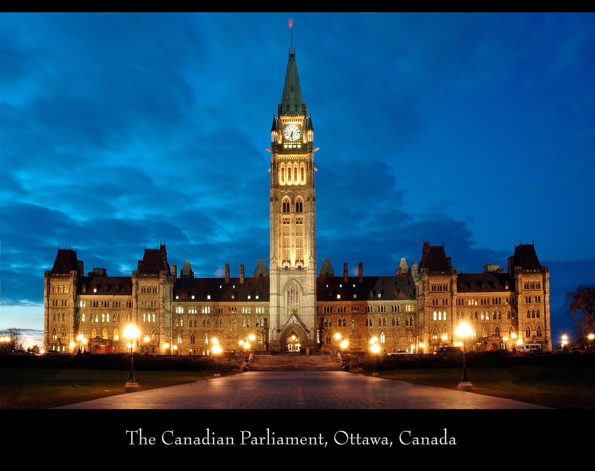 The Canadian Parliament, Ottawa, Canada.<br /> This image is a composite of two images taken of the Canadian Parliament building in Ottawa, Canada in 2004. The sky and colours are as they were that evening. Other than UV, no other filter was used.
