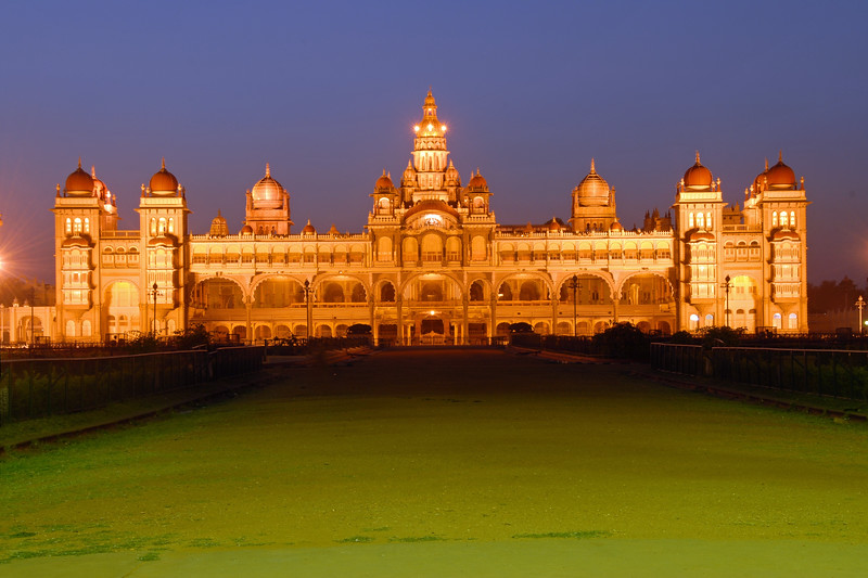 Mysore Palace or the Maharajah's Palace is very well lit at night and on special occasions. Mysore is situated between Coorg and Bangalore. The Palace of Mysore (Amba Vilas) and the Museum is situated in the city of Mysore, Karnataka, Southern India. It was the official residence of the former royal family of Mysore, and also housed the durbar (ceremonial meeting hall of the royal court).<br /> <br /> The palace was commissioned in 1897, and its construction was completed in 1912. The Wodeyar Mahararaja's of the Mysore state used to reside in this. The original palace built of wood, got burnt down in 1897 and was rebuilt for the twenty fourth Wodeyar Raja in 1912. Designed in Indo-Saracenic style by the well-known British architect, Henry Irwin, the palace is a treasure house of exquisite carvings and works of art from all over the world.