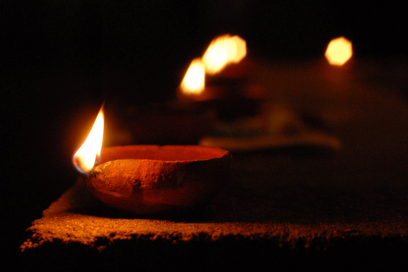 Diya (Oil lamps built from clay) light up for Diwali (Festival of Light).
