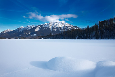 Winter am Barmsee, Oberbayern, Bayern, Deutschland