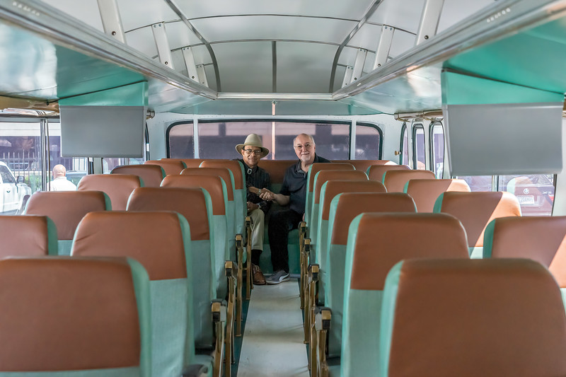 The replica of the interior of the Freedom Rides Bus