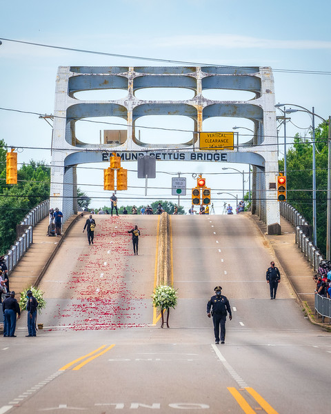 Rose petals were scattered on the bridge before the john lewis memorial jubilee, July 26, 2020; symbolic of the February 26th 1965 Bloody Sunday