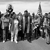 Reverend William Barber leads the jubilee bridge crossing in Selma during the 50th anniversary celebration of the voting rights act