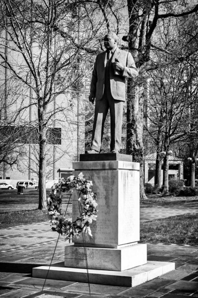 Memorial wreath at the base of the MLK Jr sculpture, January 20, 2020