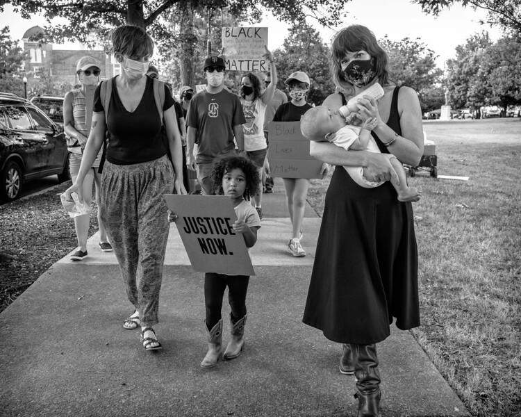 Justice now!  Mom's and children at Mothers United rally for BLM, June 14, 2020