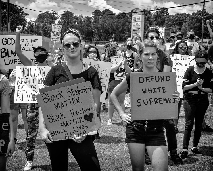 Defund white supremacy!  signage at Mountain Brook rally for blm, June 4, 2020