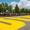 BLM painted in the street at 1st Ave South!   Million people march past Railroad Park, June 19, 2020