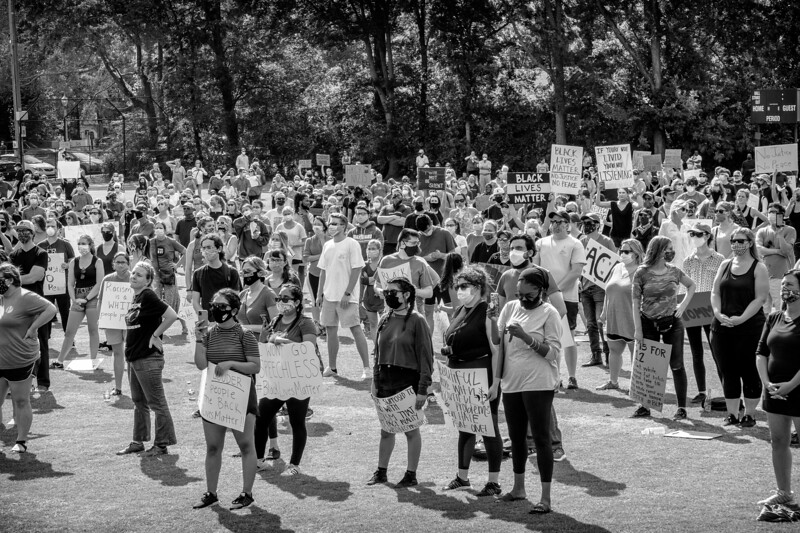 attendees at the Mountain Brook Rally for justice and BLM, June 4, 2020