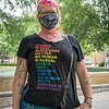 Rainbow wisdom on t-shirt!  Woman attends the White Birminghamians for BLM, June 26, 2020