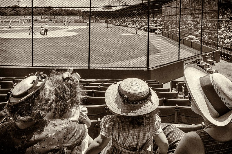 family at Rickwood Classic in period dress, 2013
