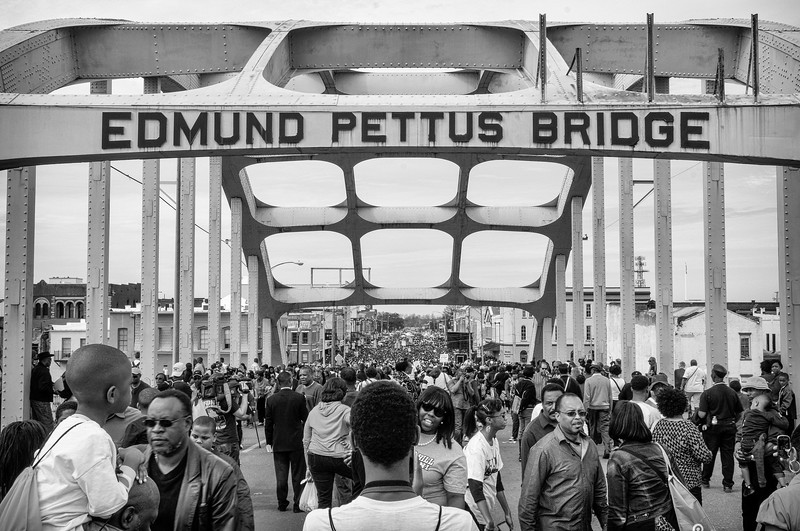 Crowds at the 50th anniversary of the voting rights act and jubilee at the edmund pettus bridge