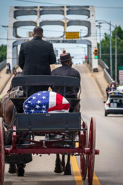 Memorial crossing of the Edmund Pettus bridge for congressman and activist , John lewis, july 26th, 2020