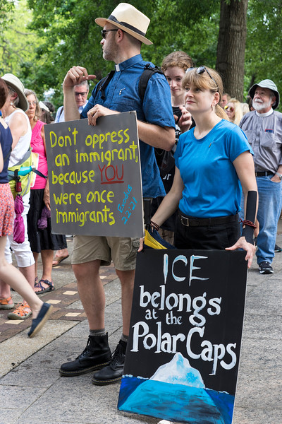 Signage at immigration rally for pro sanctuary cities, June 30, 2018