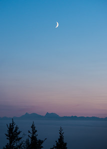 Moonrise over Denali