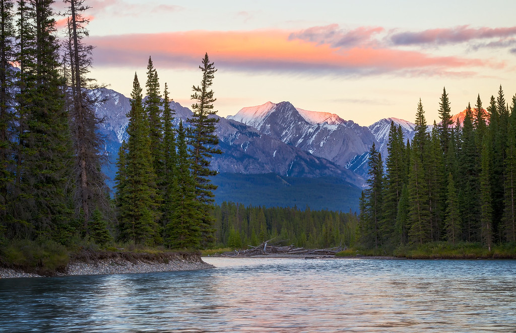 Sunset over the Bow River (Banff National Park)