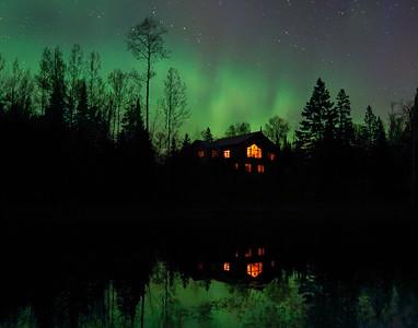 Aurora over house