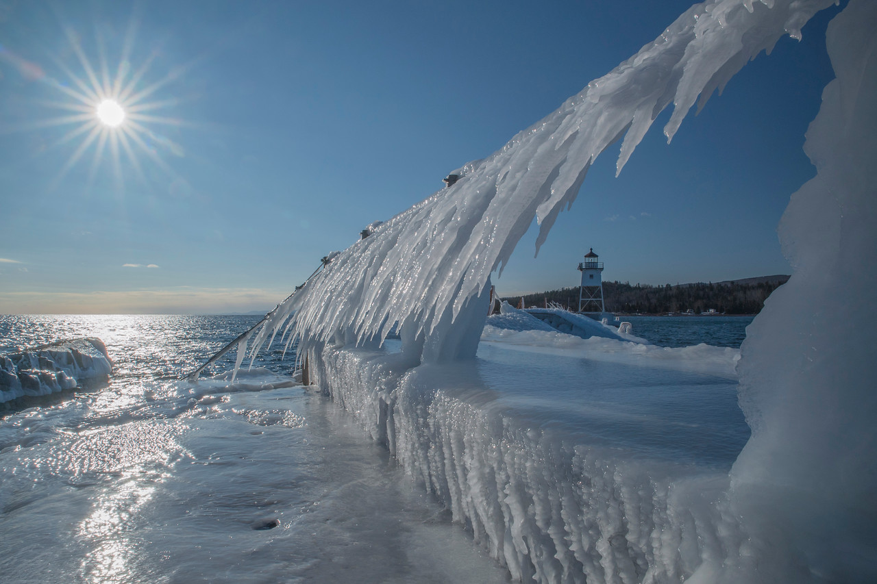 Ice Covered Breakwall
