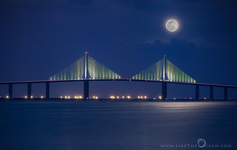Moonrise by Sunshine Skyway Bridge