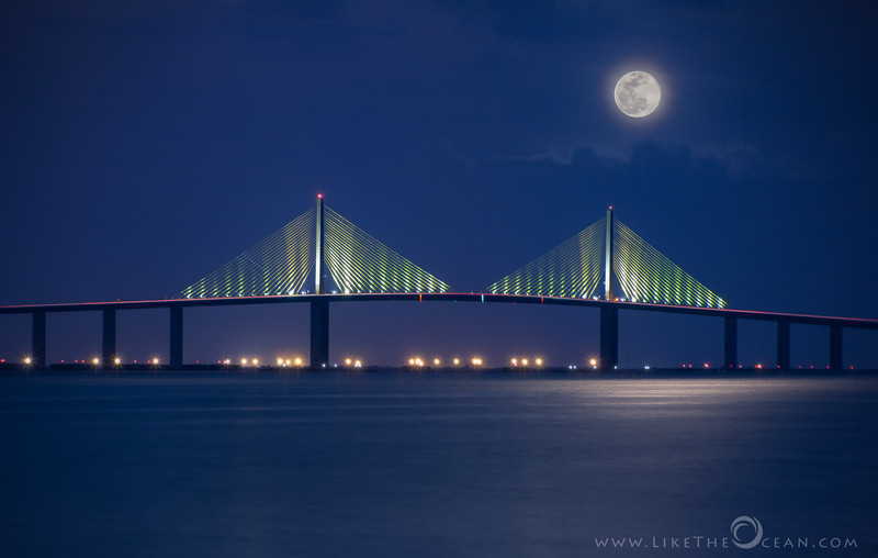 Moonrise by Sunshine Skyway Bridge