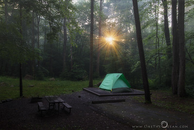 Sunset, Fog & Camping