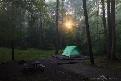 Sunset, Fog & Camping