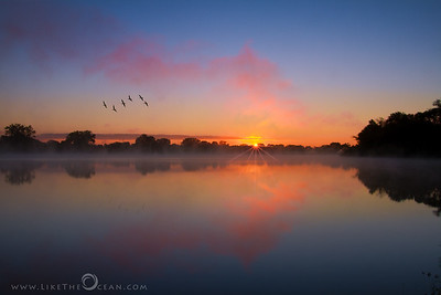 Misty Morning by Mississippi River