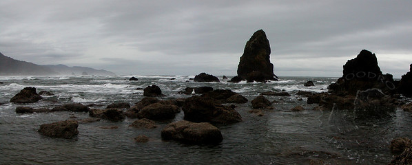 Standing rocks at Cannon Beach, Oregon.