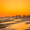 orange sunset over gulf of mexico at destin fl