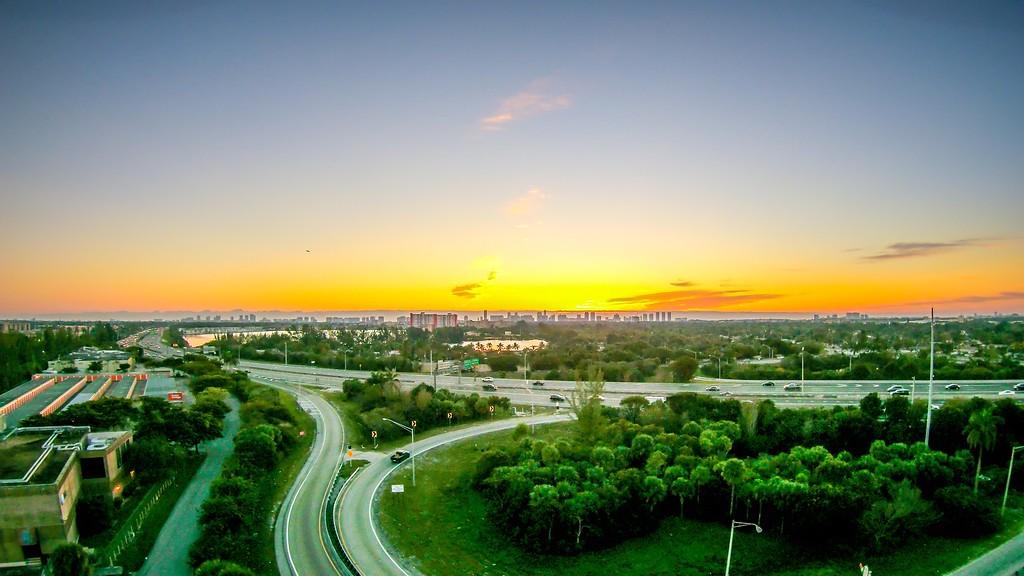 sunrise over miami city florida