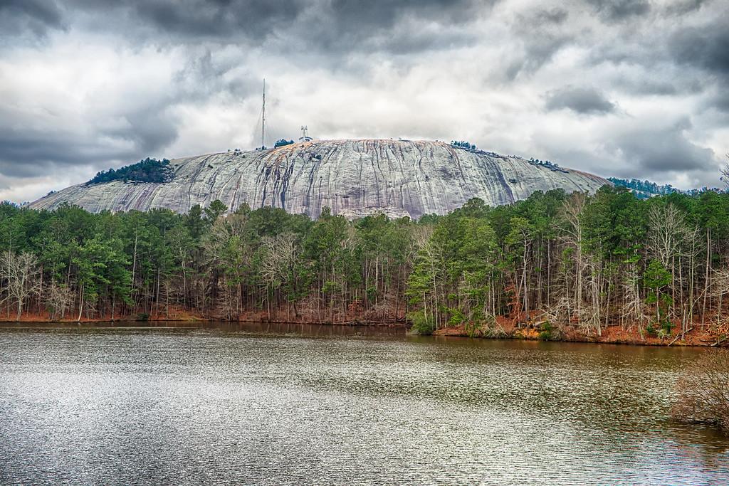 view of stone mountain near atlanta georgia usa