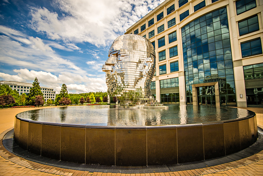 CHARLOTTE NORTH CAROLINA USA JUNE 16 2016: Metalmorphosis is a mirrored water fountain by Czech sculptor David Cerny