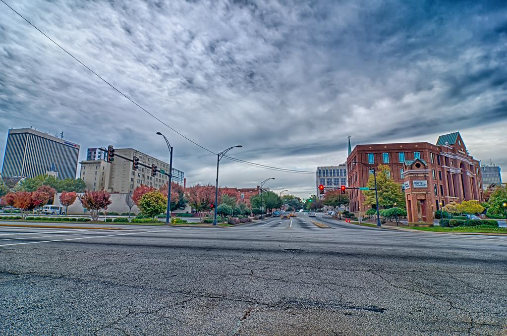 greenville city south carolina skyline and downtown area