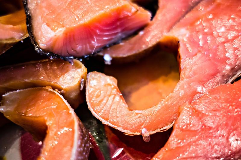 smoked salmon slised on dinner table