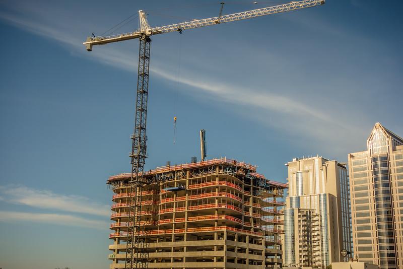 buildings under construction in a major city