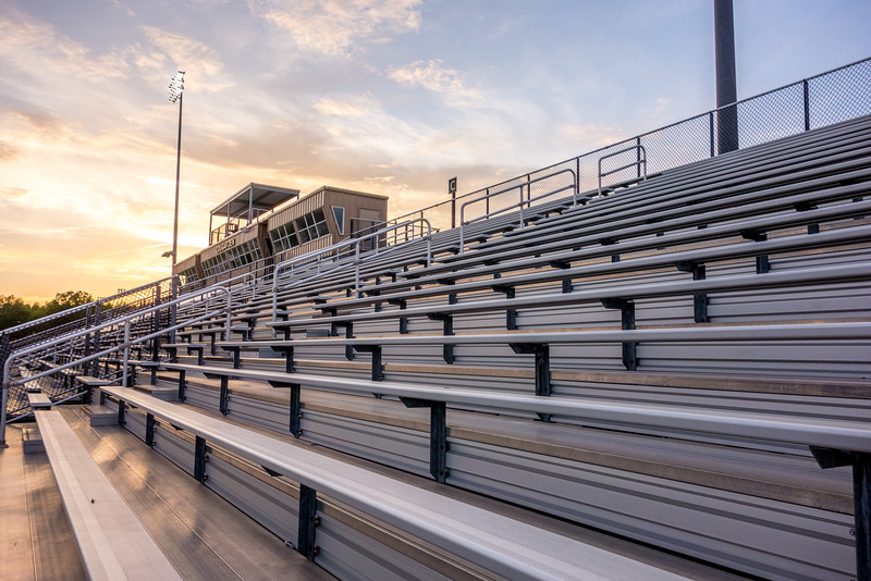 aluminum seating at a high school stadium
