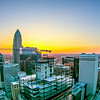 aerial views at sunrise over charlotte north carolina