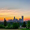 early morning sunrise over charlotte north carolina skyline