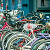 many bikes pile on street