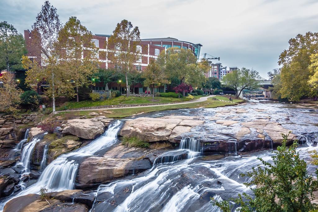 street scenes around falls park in greenville south carolina