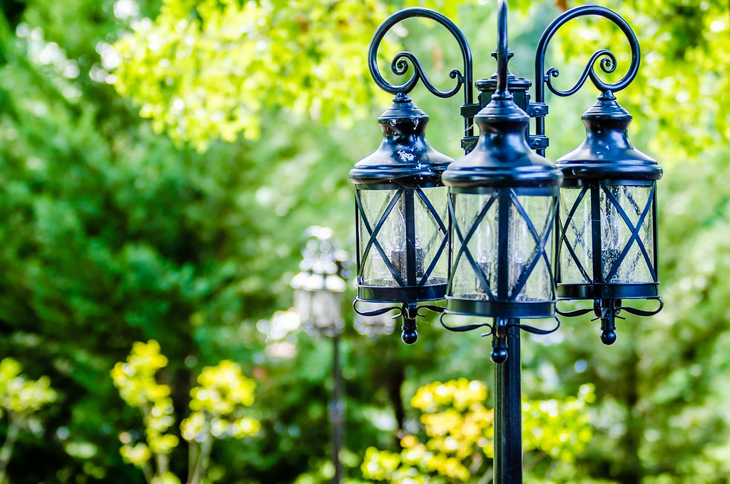 decorative classic lamp post in garden