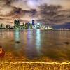 Miami city skyline panorama at dusk with urban skyscrapers
