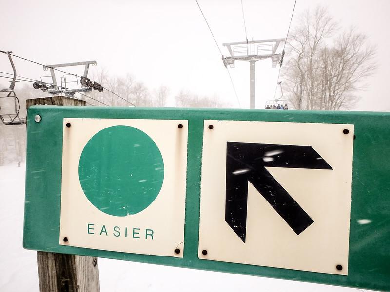 easier ski slope trail sign