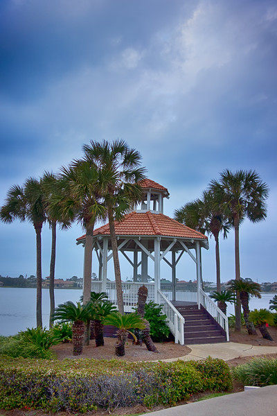 seashore gazebo and palm trees in florida