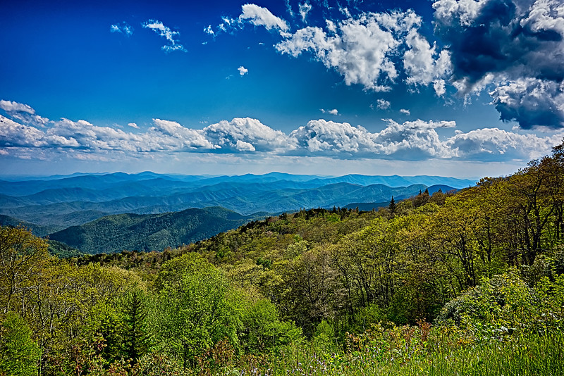 driving by overlooks along blue ridge parkway