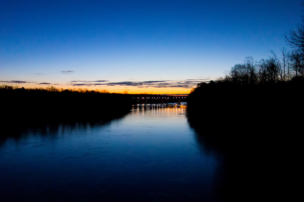 early sunrise over river