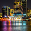 evening on St John's River and Jacksonville Florida skyline